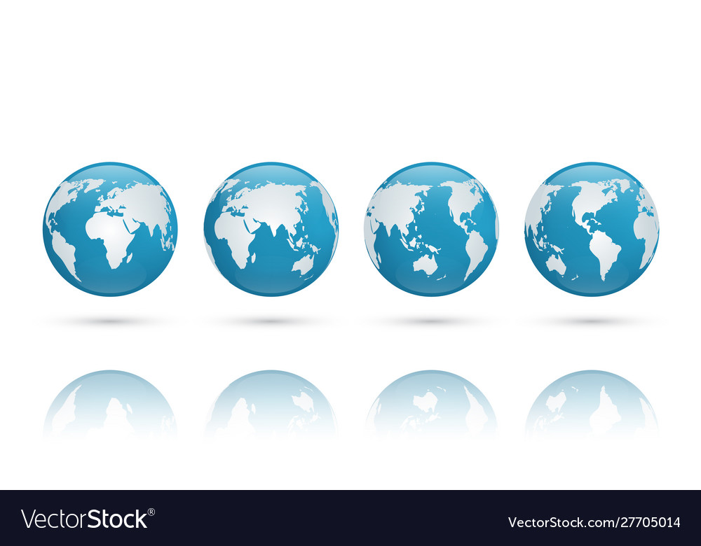 3d blue glass earth globe world map