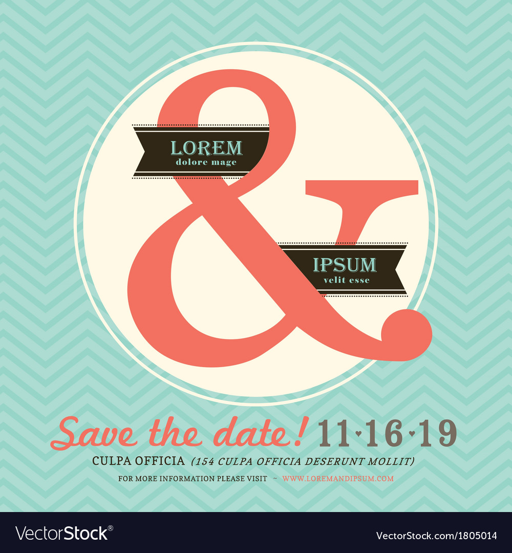 Ampersand Wedding invitation chevron background