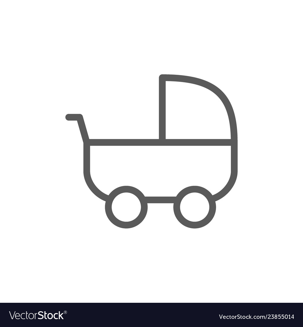 Baby strollers carriage line icon