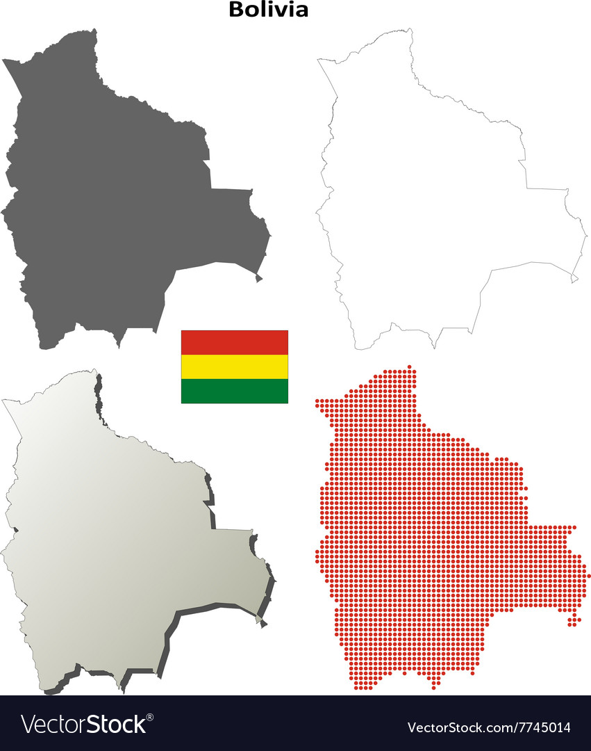 Picture of: Bolivia Outline Map Set Royalty Free Vector Image