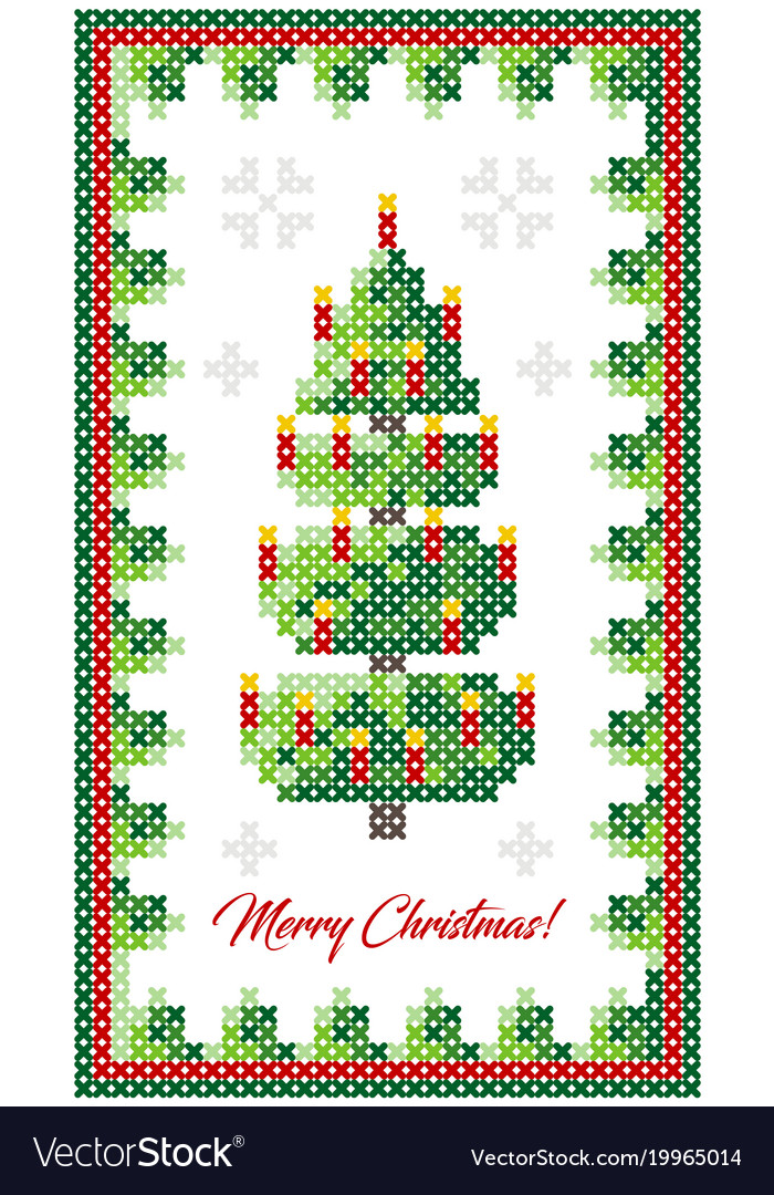 Christmas tree pattern scheme for needlework