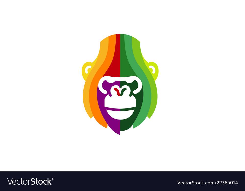 Creative abstract colorful gorilla head logo
