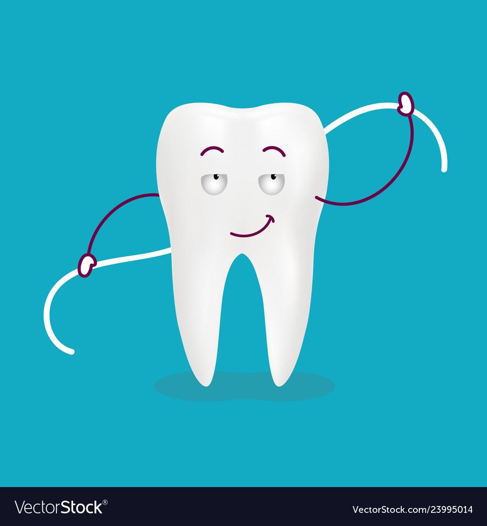 Cute cartoon tooth with dental floss isolated on a