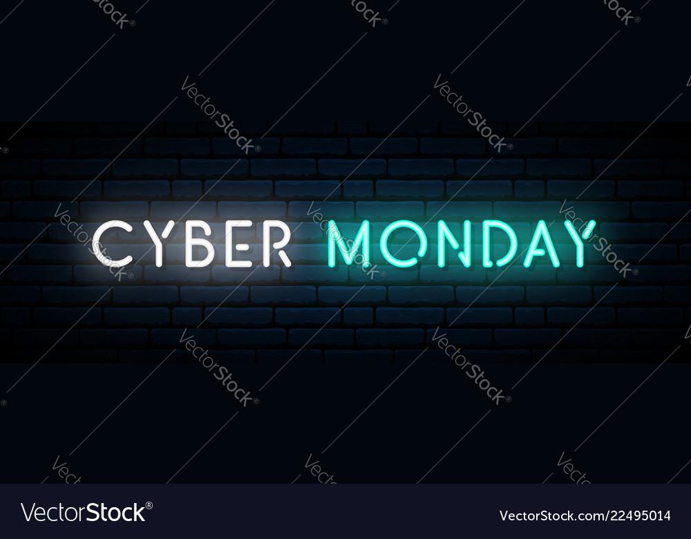 Cyber monday neon sign long horizontal light