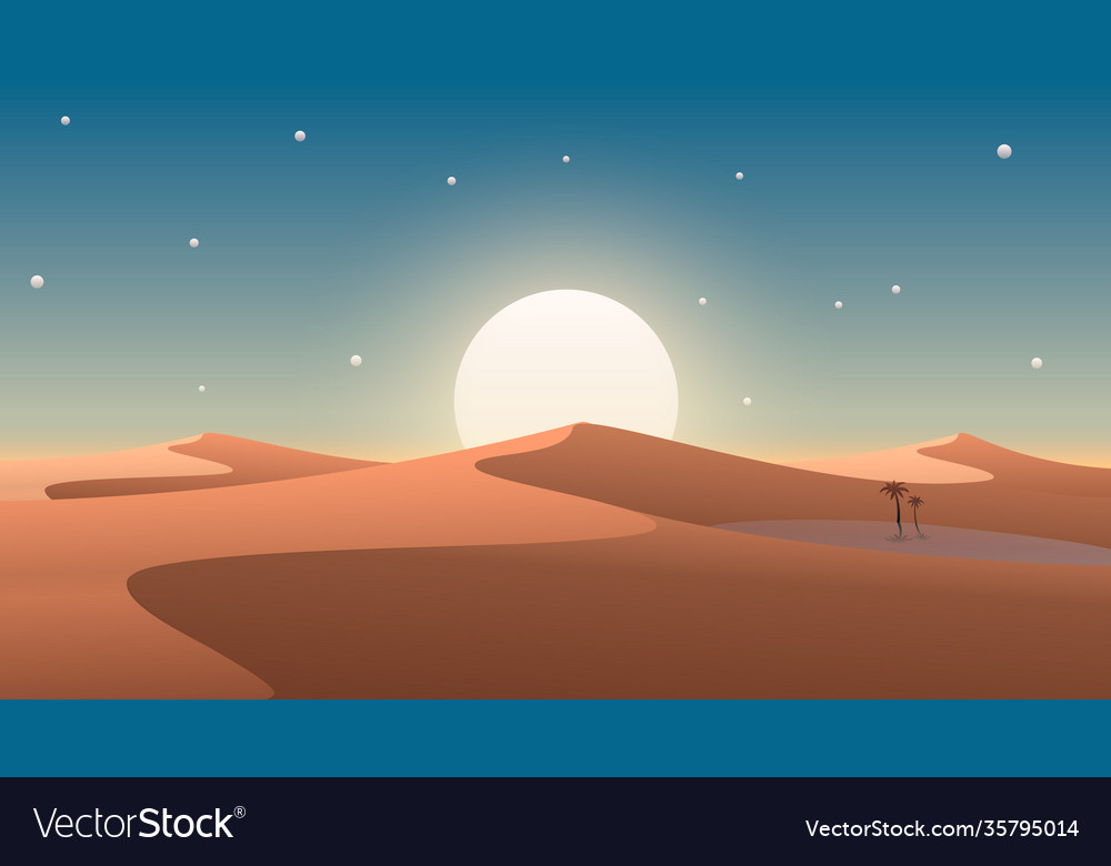 Desert cover with oasis and palm trees nature