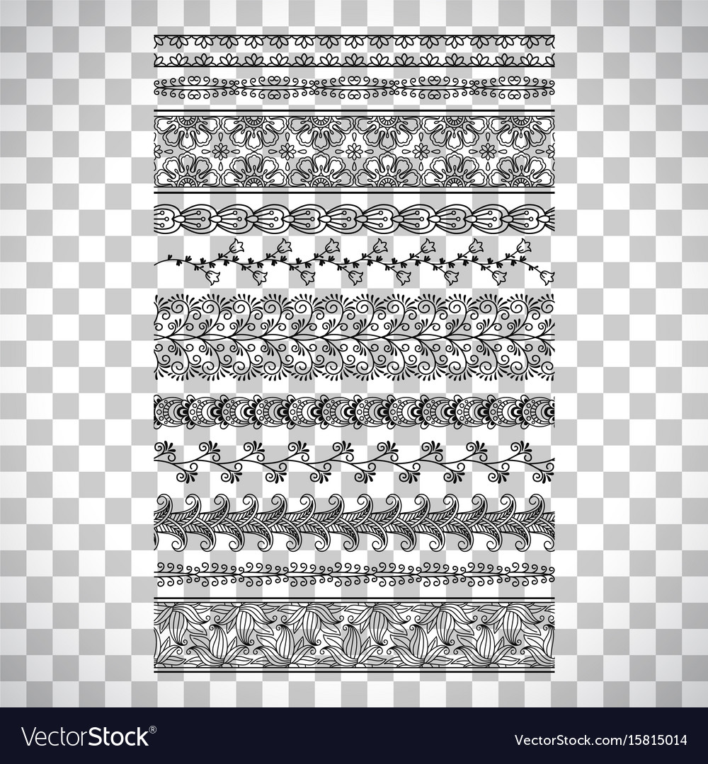 Doodle floral borders set vector image