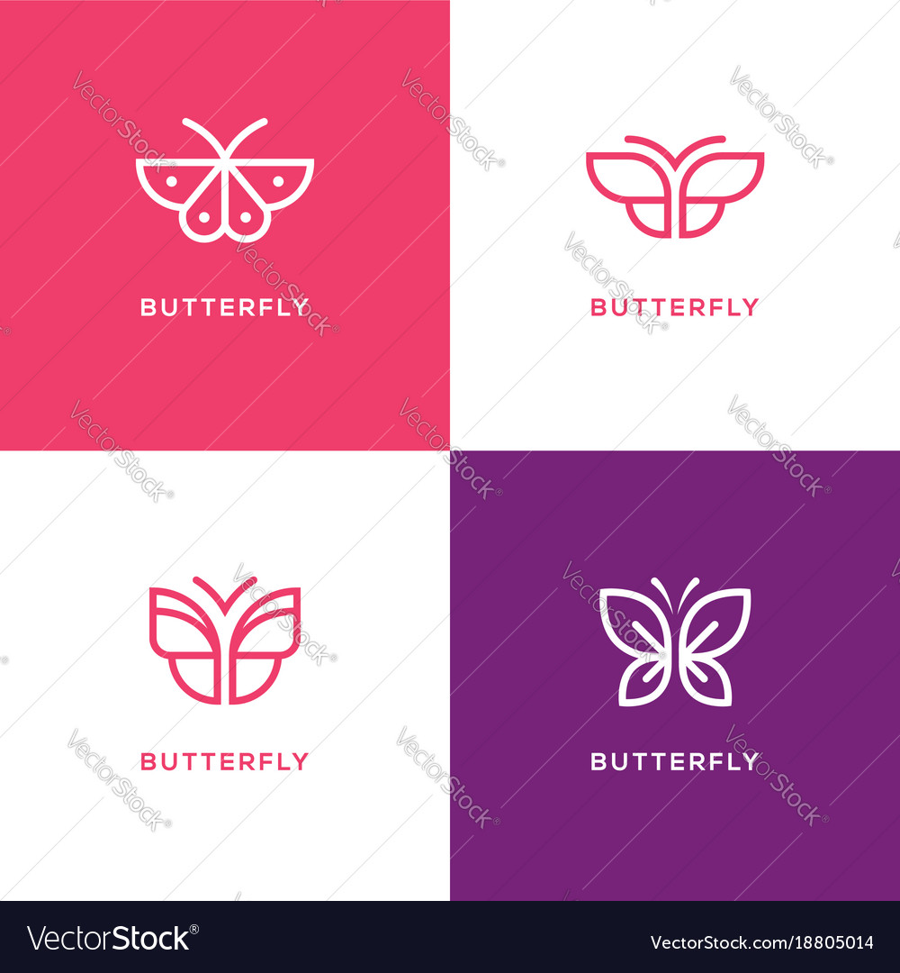 Four mono line butterfly logo