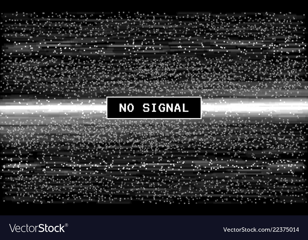 Glitch no signal retro vhs effect pixel digital