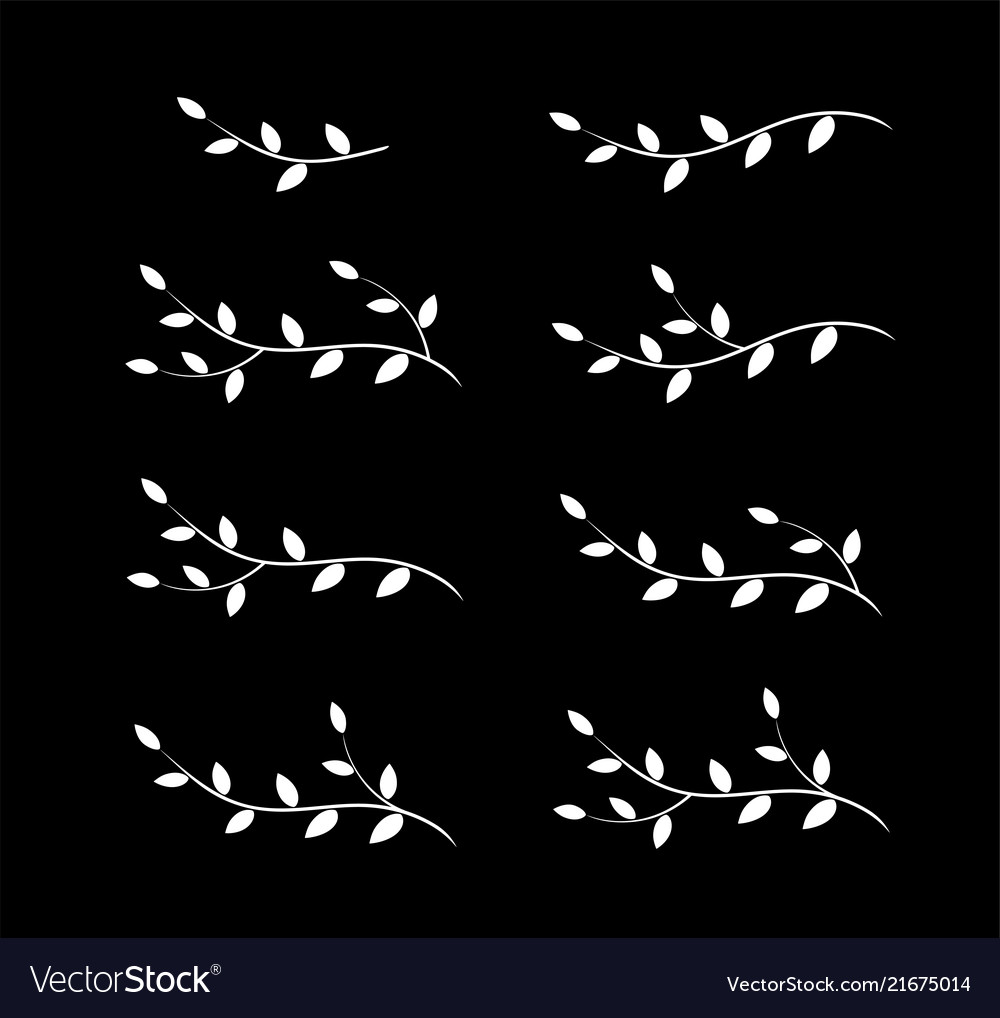 Isolated art white tree branches with leaves