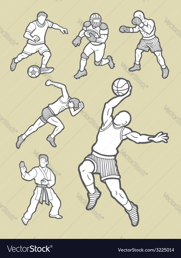 Male sport icons sketch