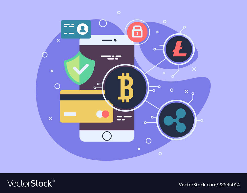 Mobile phone payment icon in flat style the