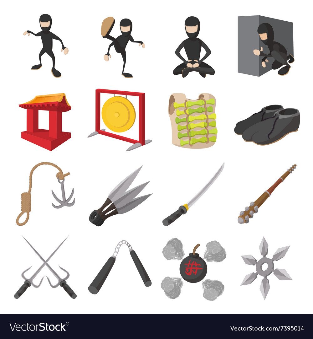 Ninja cartoon icons set