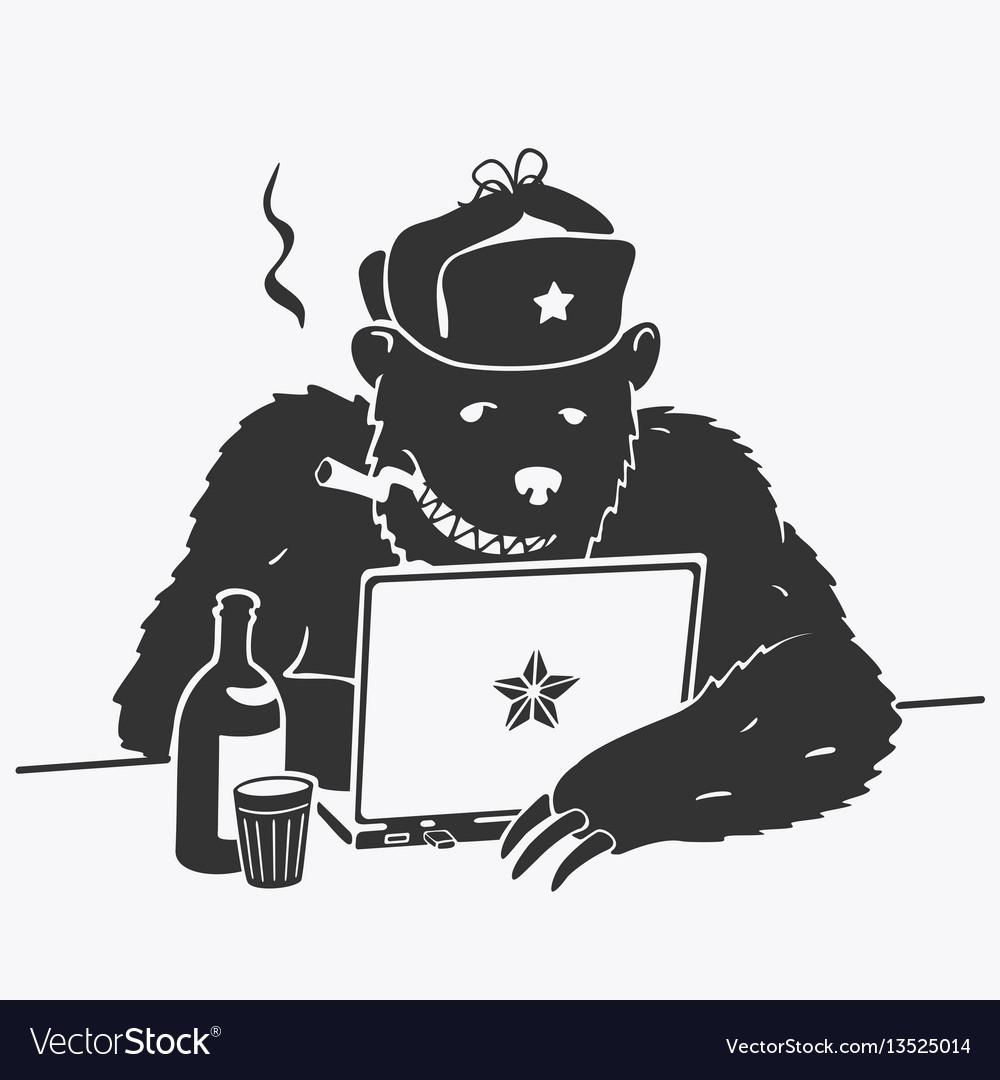 Russian hacker character cartoon