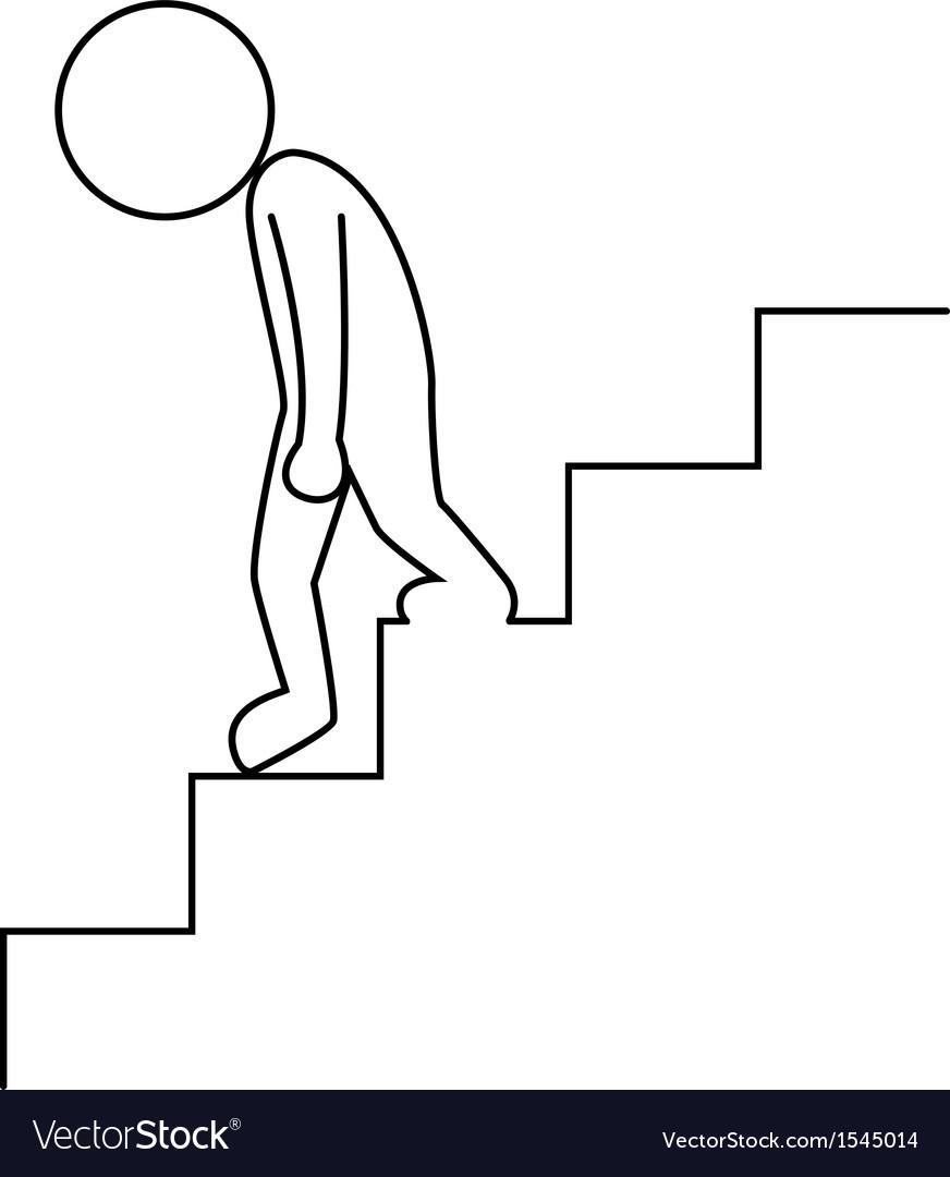 Sad businessman walking downstairs