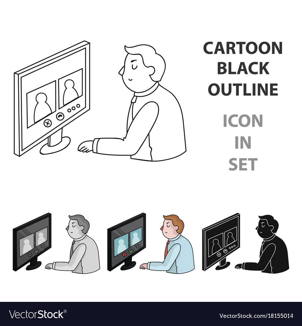 Video conference icon in cartoon style isolated on