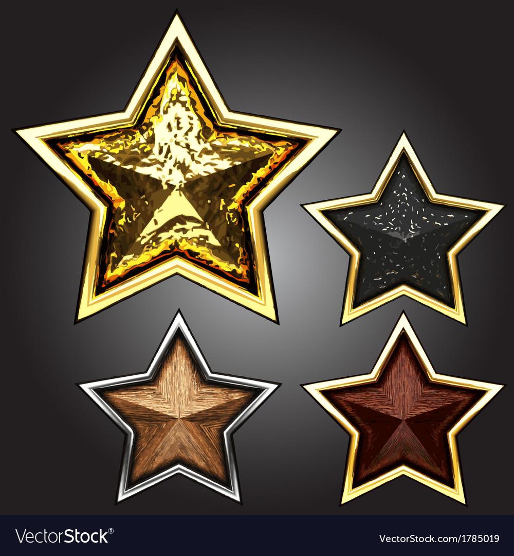 Award star set vector image