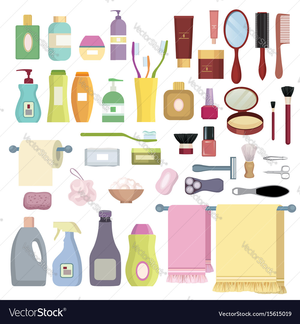 Beauty care related object set hygiene symbols