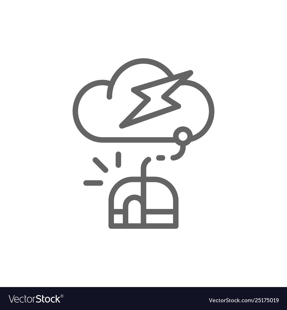 Computer mouse with cloud server line icon