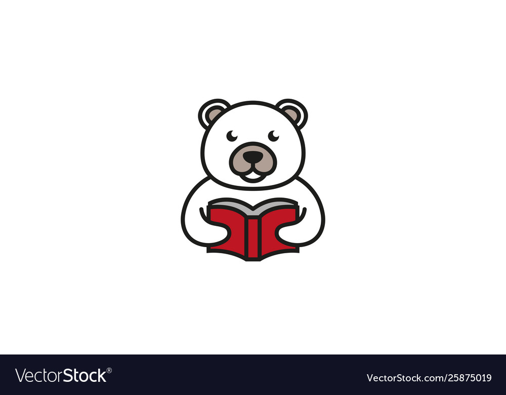 Creative white bear reading book logo design