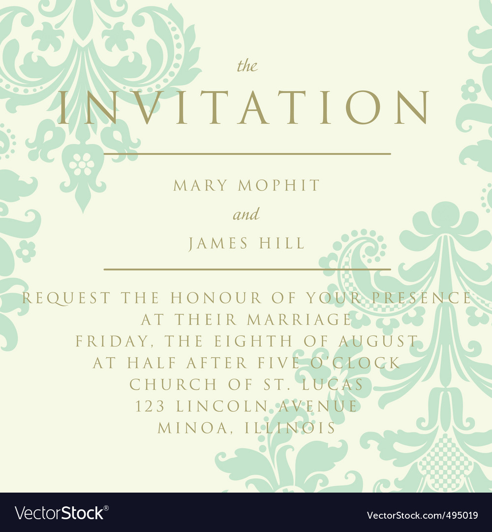 Damask invitation card royalty free vector image damask invitation card vector image stopboris Images