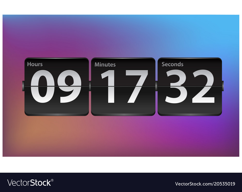 Flip countdown timer template analog clock Vector Image