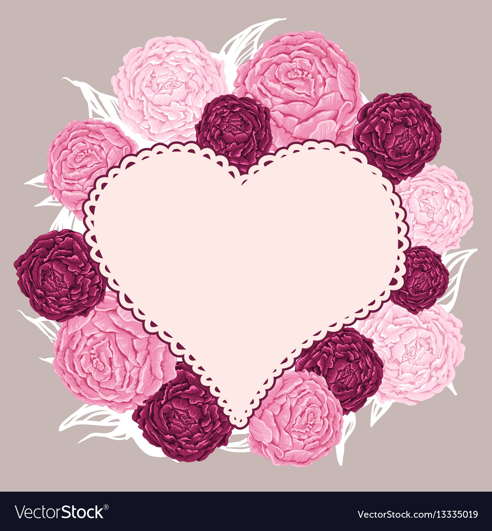 Hand drawn flowers peony arranged un a shape of