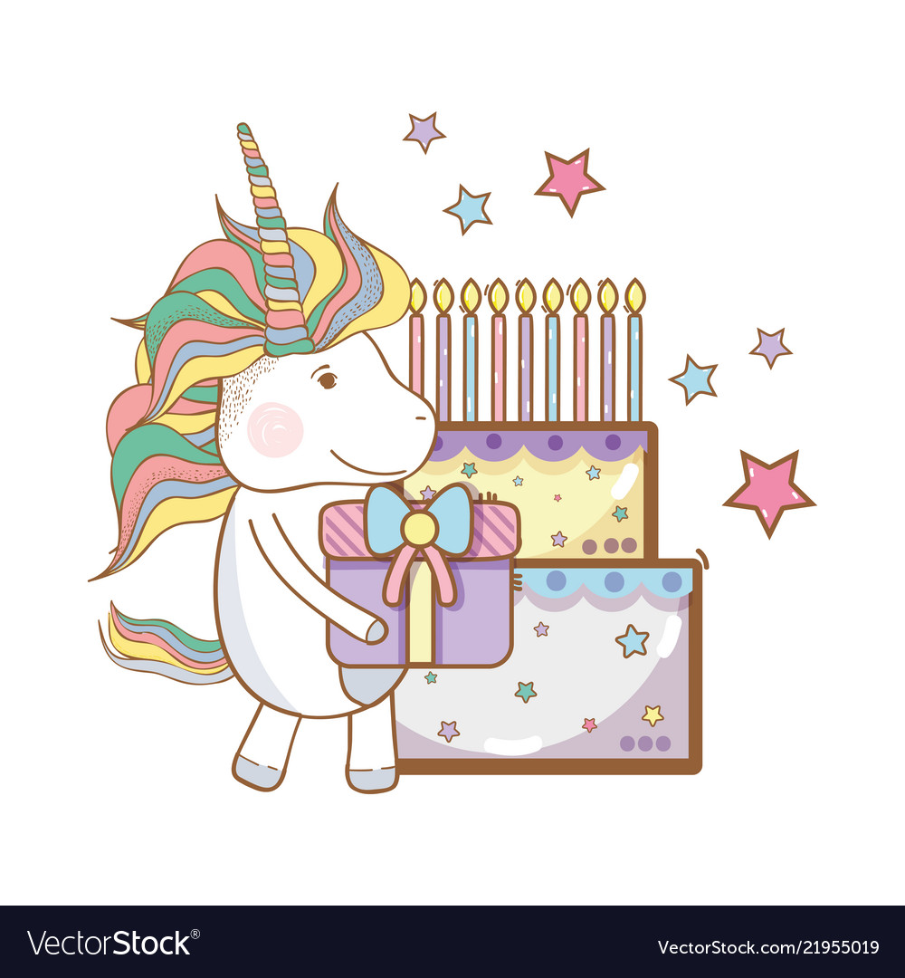 Happy Birthday Unicorn Cartoons Royalty Free Vector Image