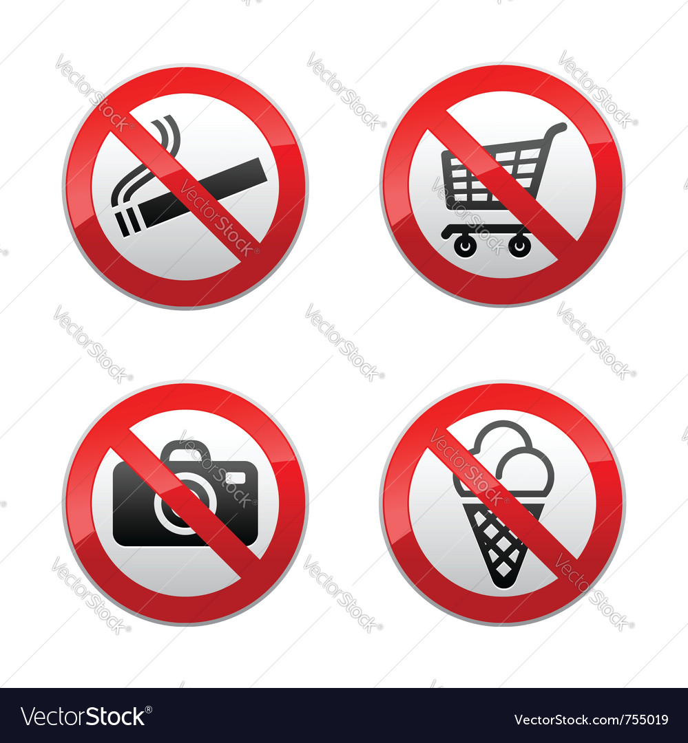 Set prohibited signs - supermarket symbols vector image
