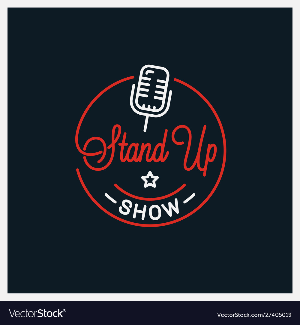 Stand up logo round linear logo microphone