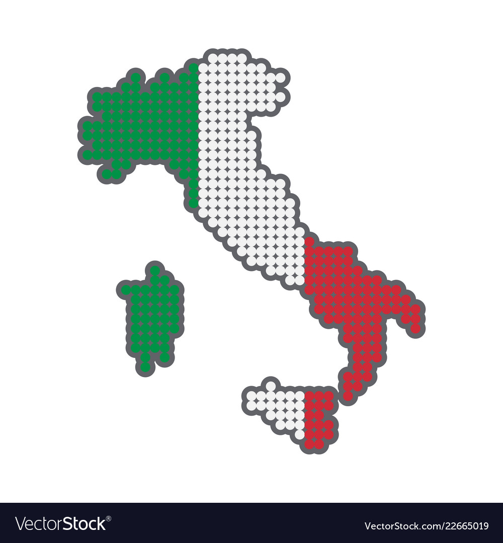 Style map of italy in colors of country