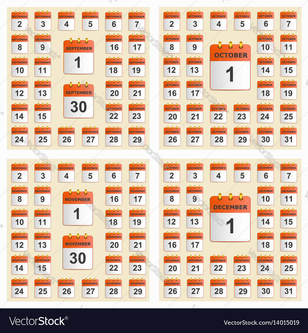 Universal set of wall calendar from september to