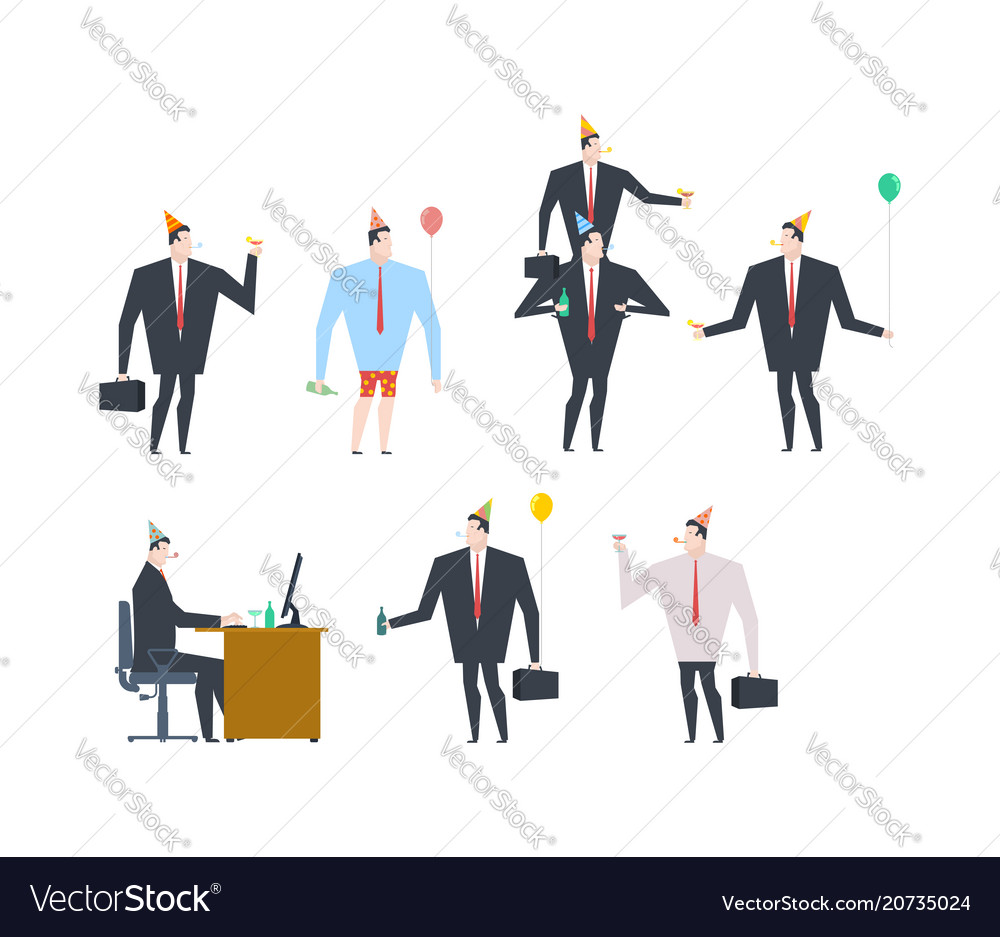Businessman at party set celebratory cap and vector image
