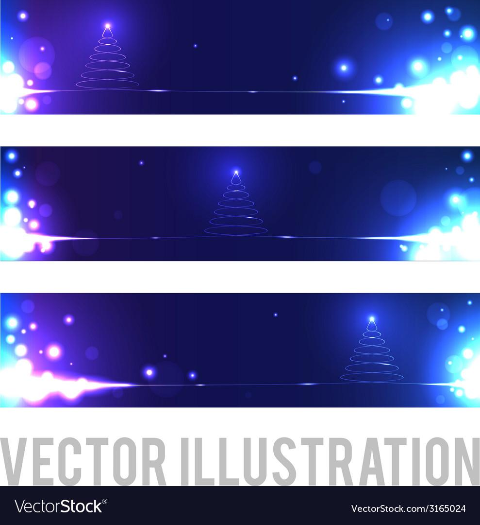 Christmas banners with abstract Christmas tree