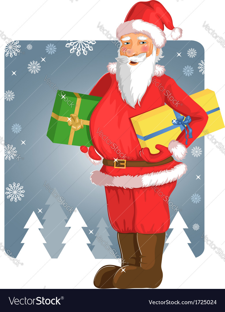 Christmas Santa Claus with gifts in his hands