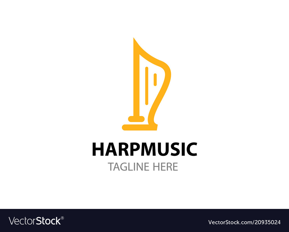 Flat logo template of harp isolated on white