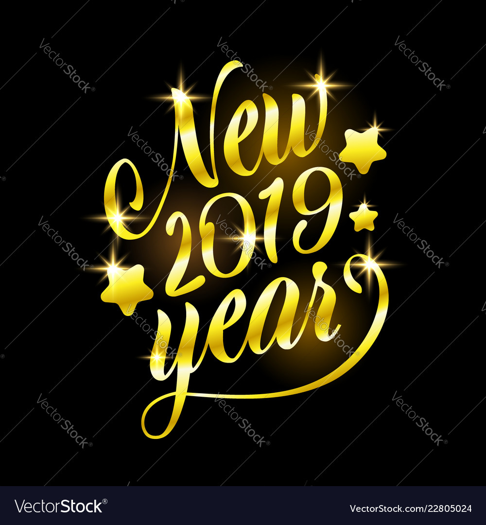 Golden sign happy new 2019 year holiday
