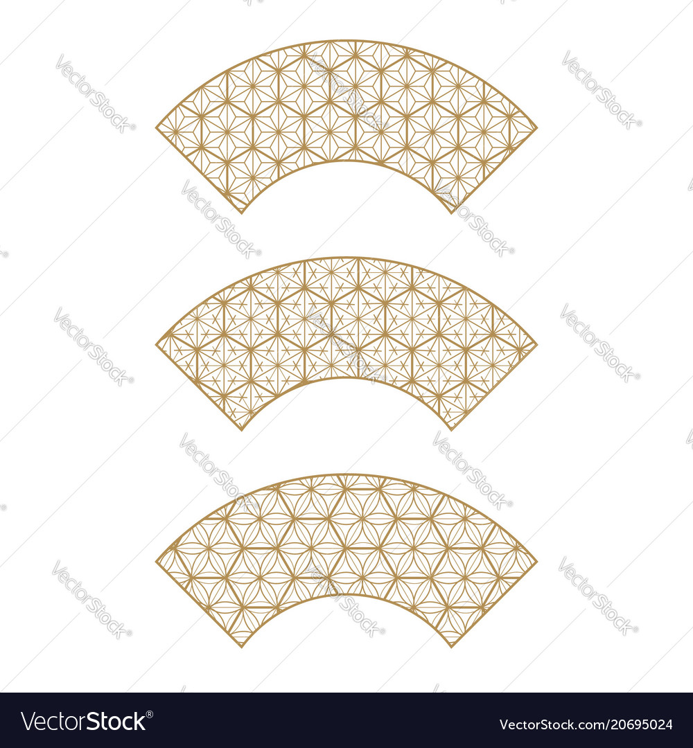 Japanese gold background and pattern fan elements
