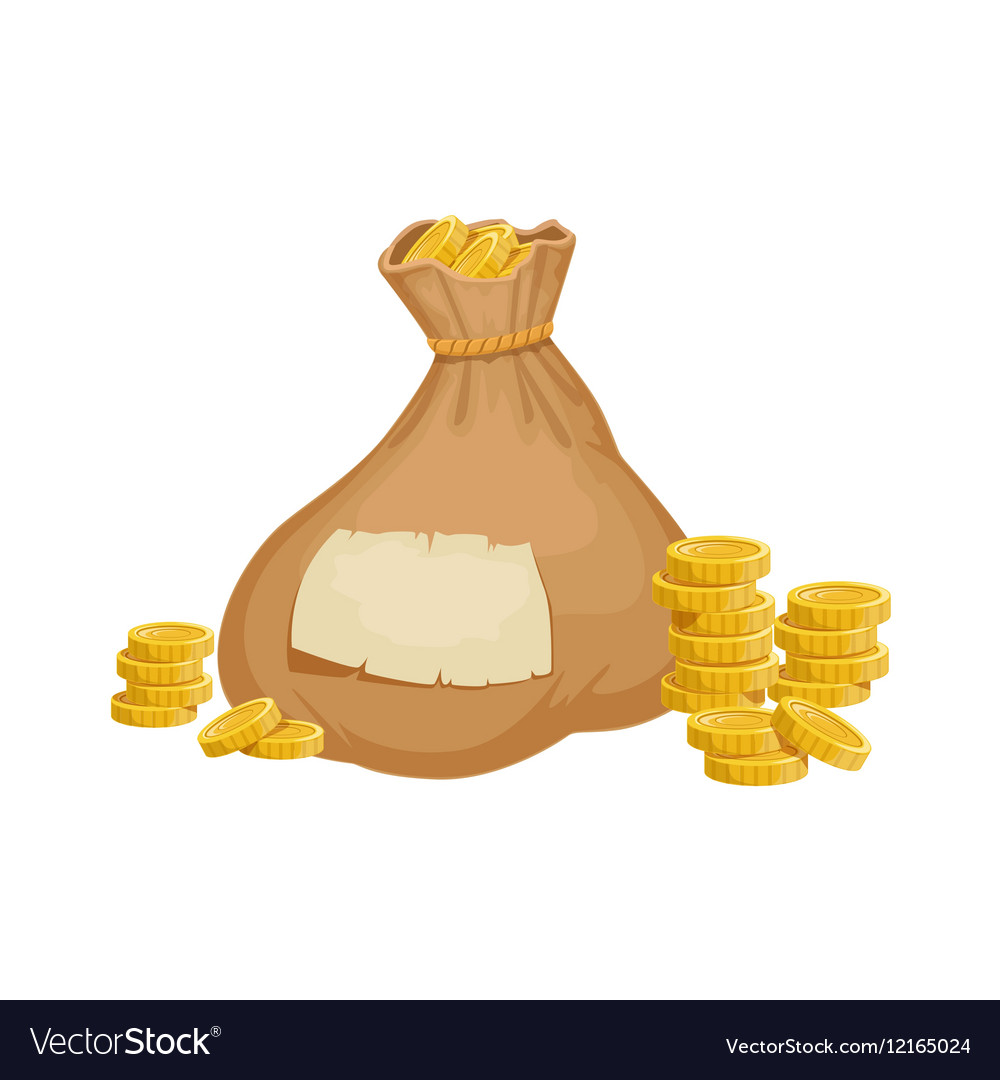 Large Heavy Closed Sack With Golden Coins Hidden vector image
