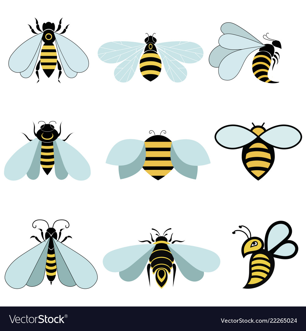 Set stylized bees collection logos