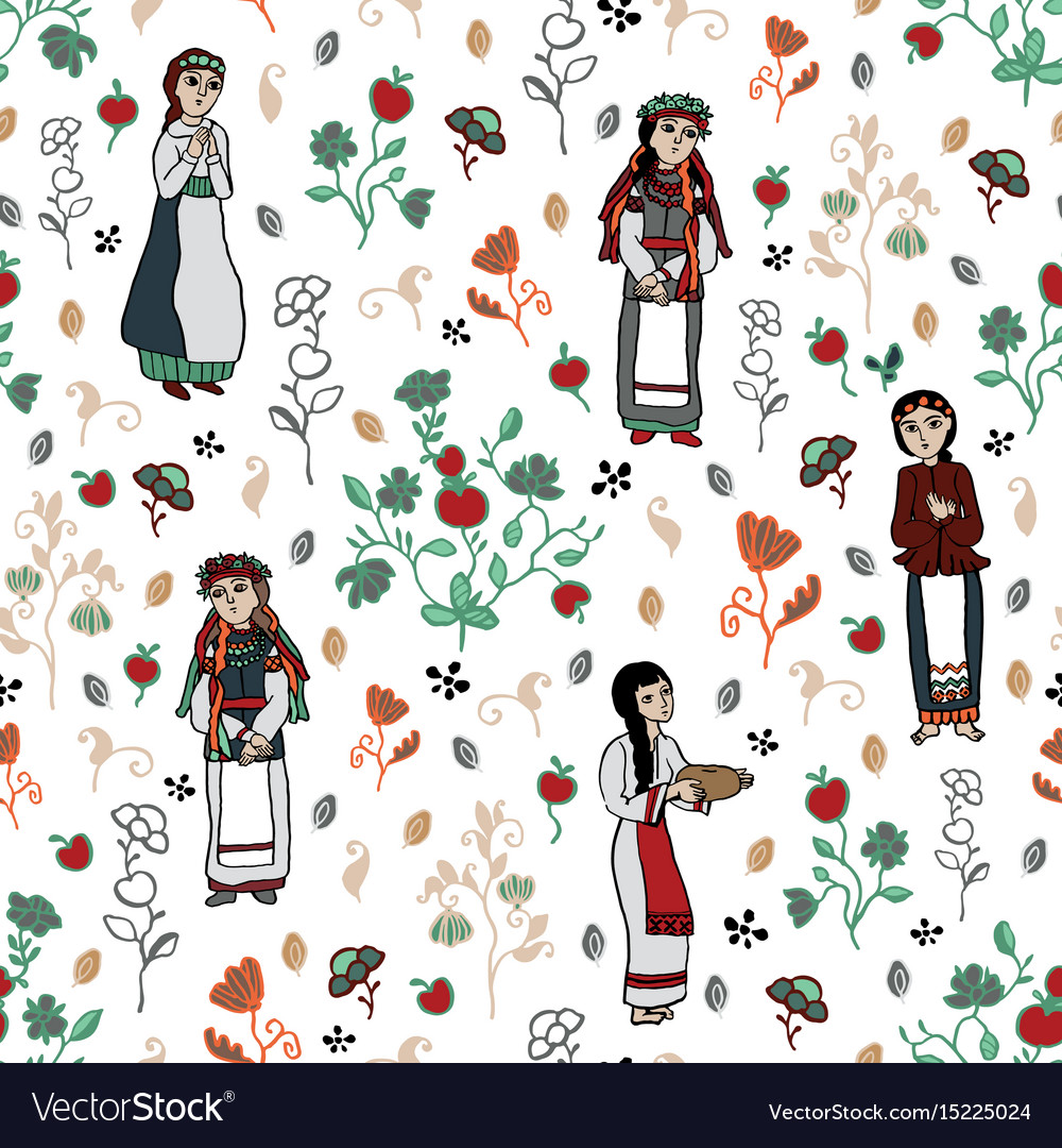 Slavic girls and floral background