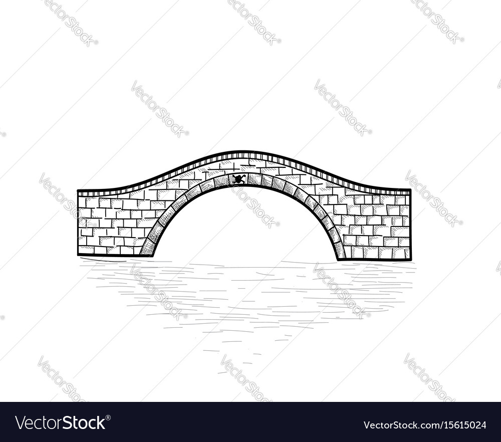Small stone bridge sign isolated engraving retro