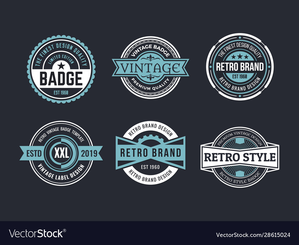 Variety decorative badges set vector
