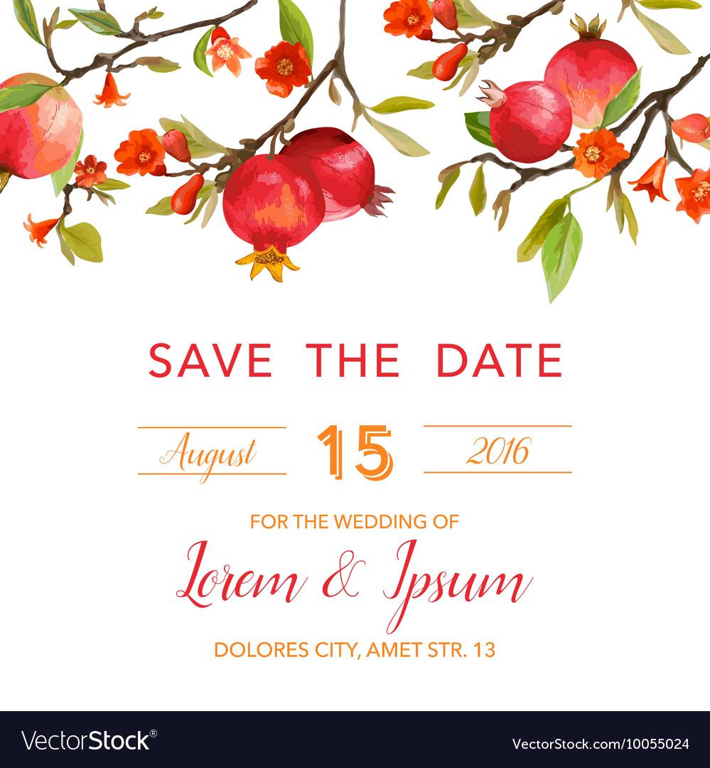 Wedding Invitation Card - with Pomegranates Vector Image