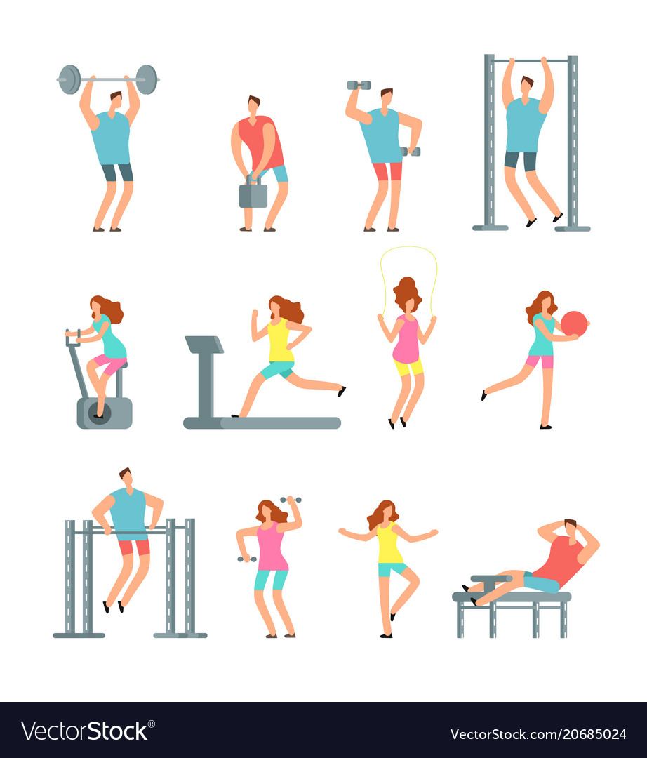 Woman and man doing various sports exercises with