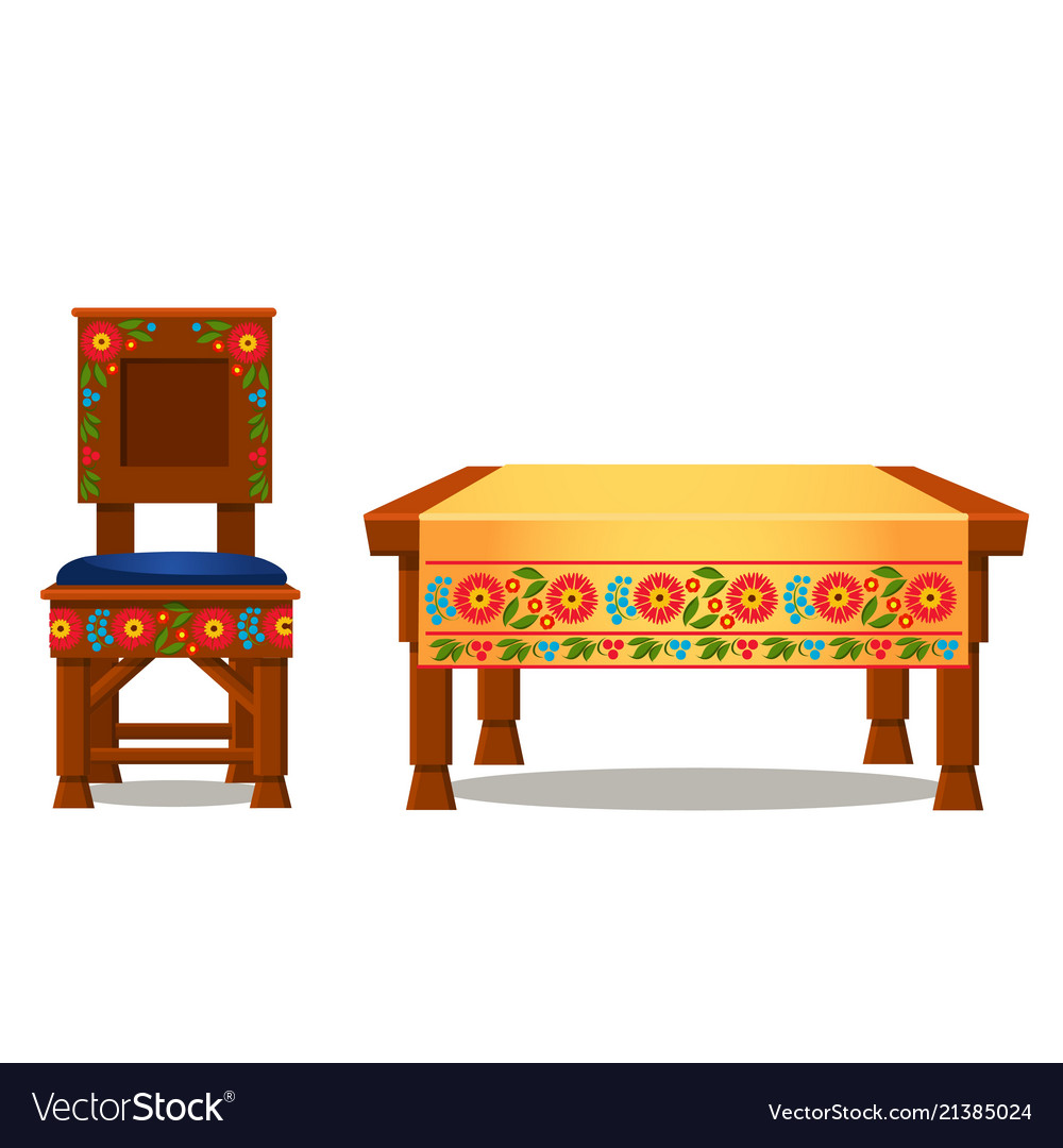 Wooden chair with upholstery and table with