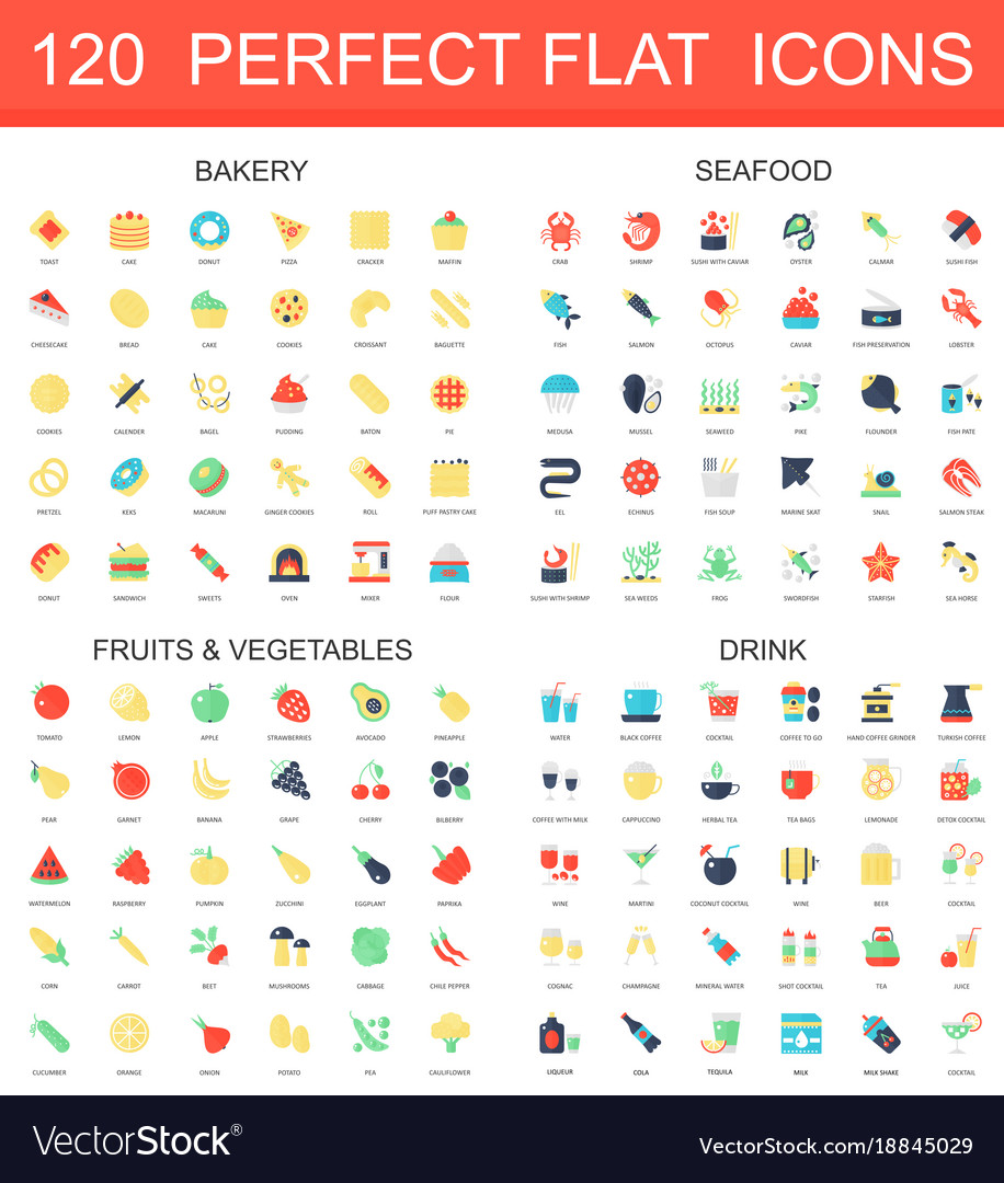 120 modern flat icon set of bakery seafood
