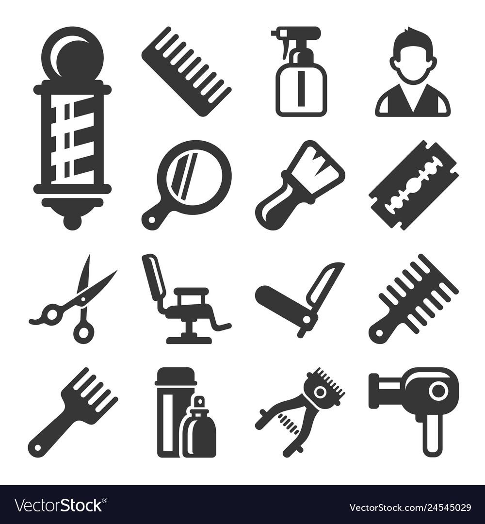 Barber shop salon icons set on white background