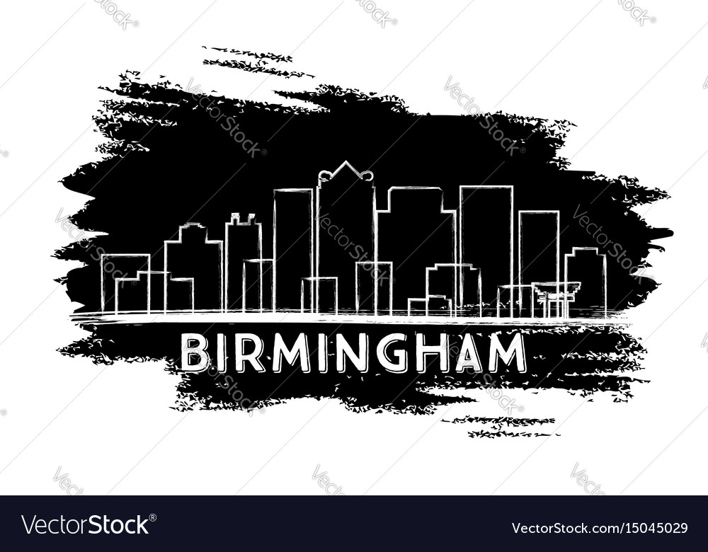 Birmingham skyline silhouette hand drawn sketch
