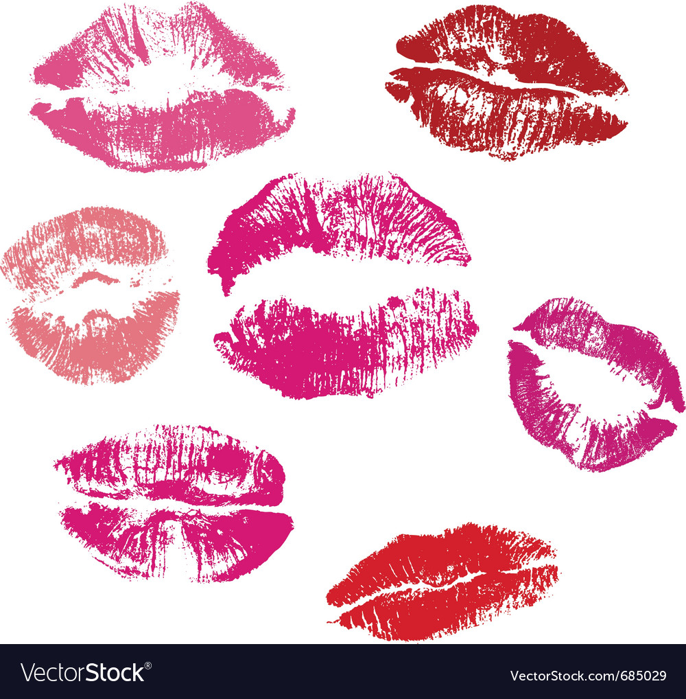 Collection of lips kiss print vector image