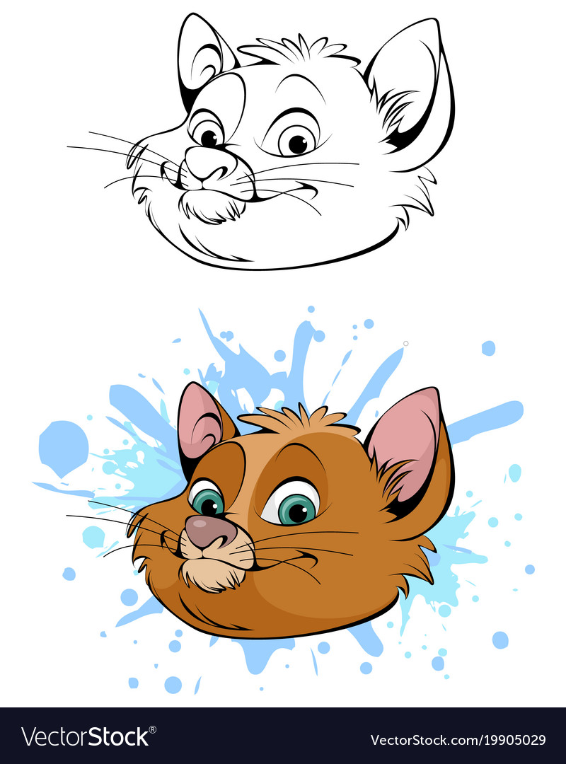 Cute head of cat vector image